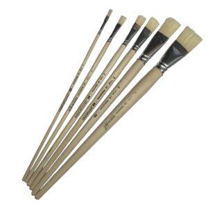 produktbild på sex stycken flata penslar